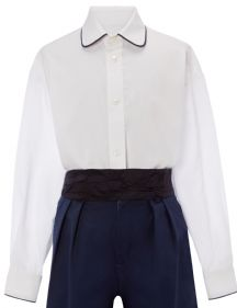 Navy piped collar shirt